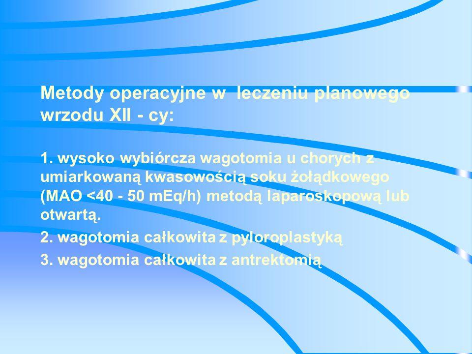 Metody operacyjne w leczeniu planowego wrzodu XII - cy: