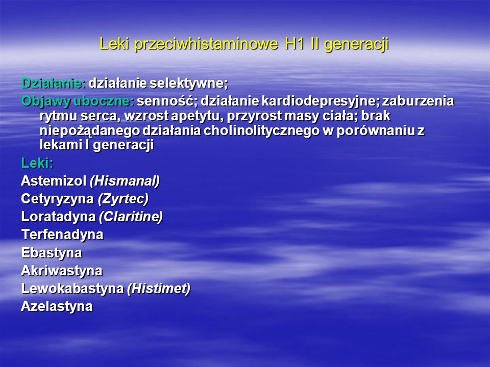 Leki przeciwhistaminowe H1 II generacji