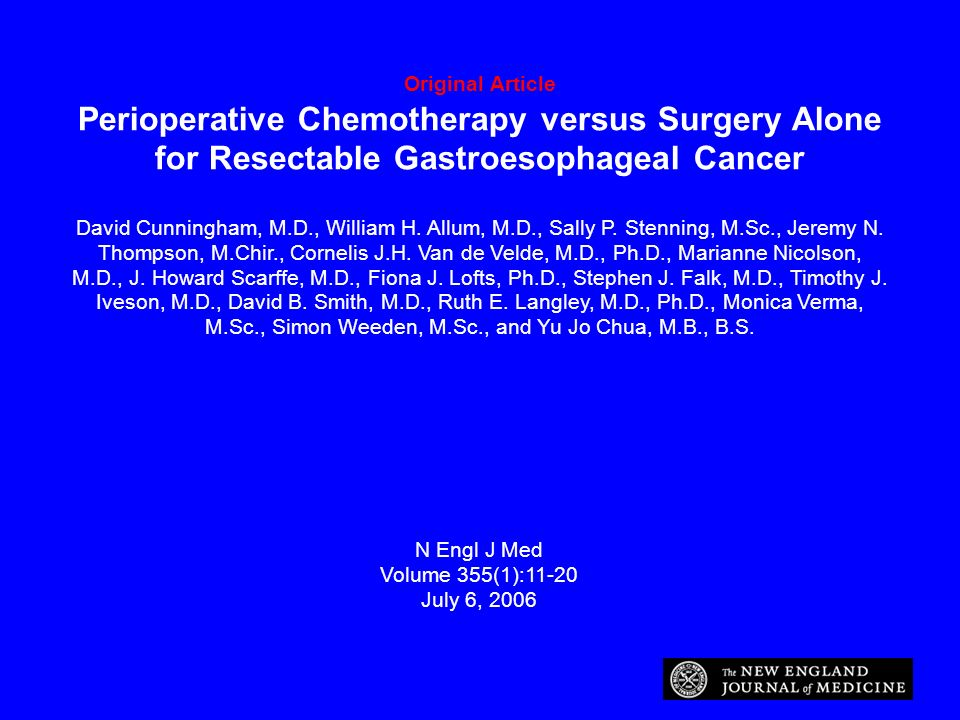 Original Article Perioperative Chemotherapy versus Surgery Alone for Resectable Gastroesophageal Cancer