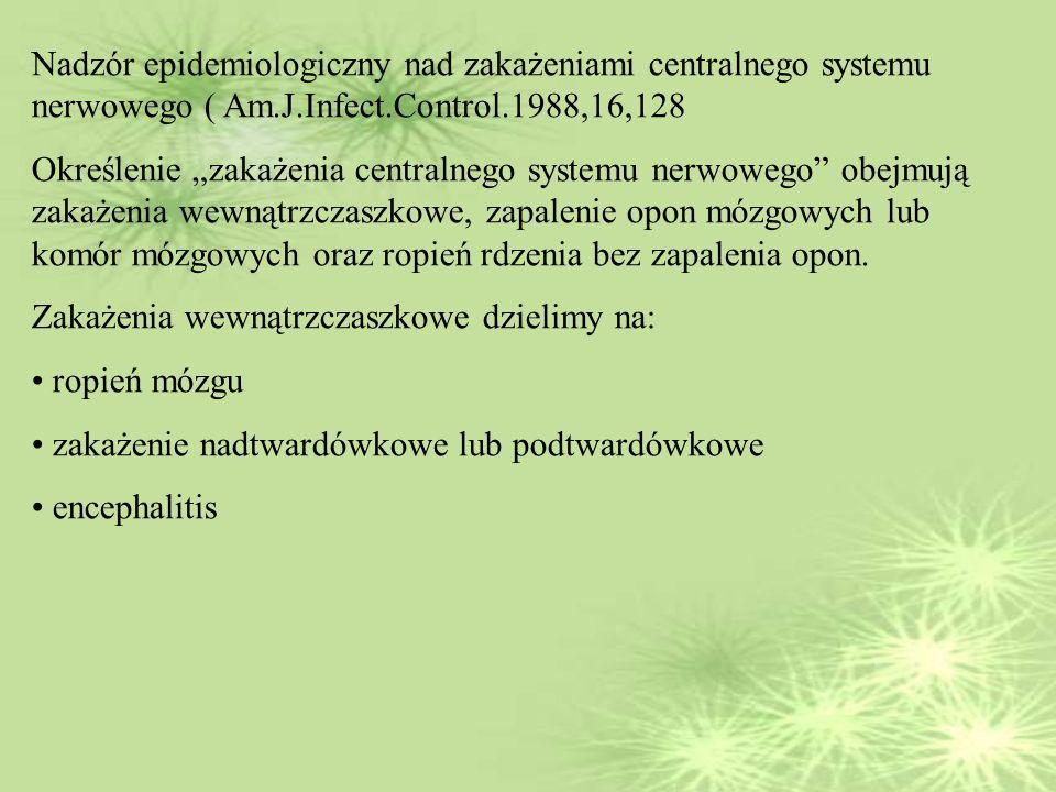 Nadzór epidemiologiczny nad zakażeniami centralnego systemu nerwowego ( Am.J.Infect.Control.1988,16,128