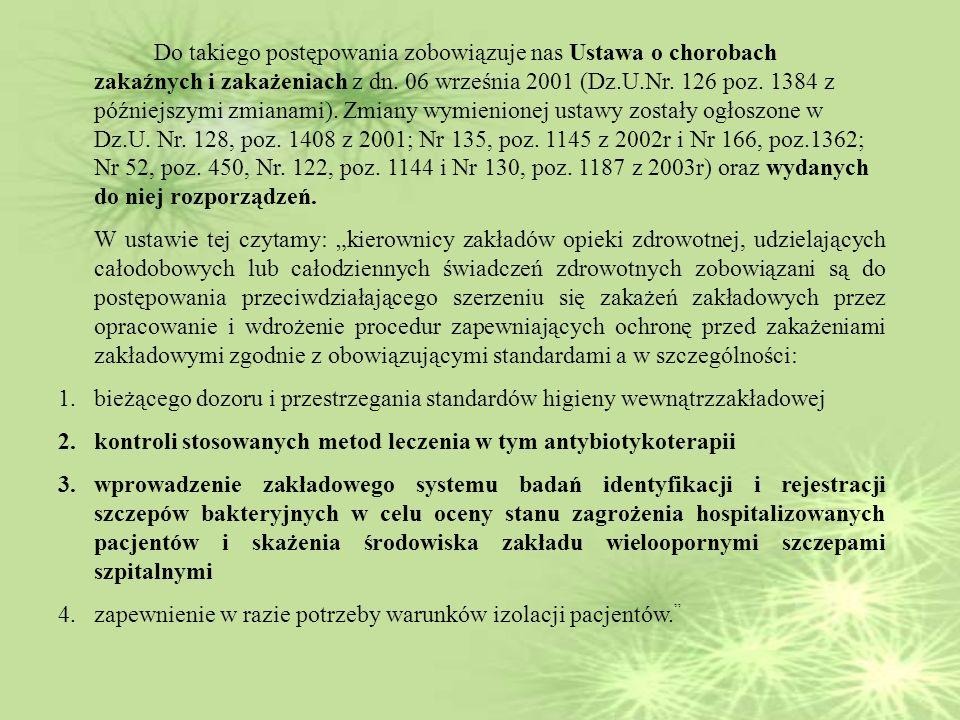 Do takiego postępowania zobowiązuje nas Ustawa o chorobach zakaźnych i zakażeniach z dn. 06 września 2001 (Dz.U.Nr. 126 poz. 1384 z późniejszymi zmianami). Zmiany wymienionej ustawy zostały ogłoszone w Dz.U. Nr. 128, poz. 1408 z 2001; Nr 135, poz. 1145 z 2002r i Nr 166, poz.1362; Nr 52, poz. 450, Nr. 122, poz. 1144 i Nr 130, poz. 1187 z 2003r) oraz wydanych do niej rozporządzeń.