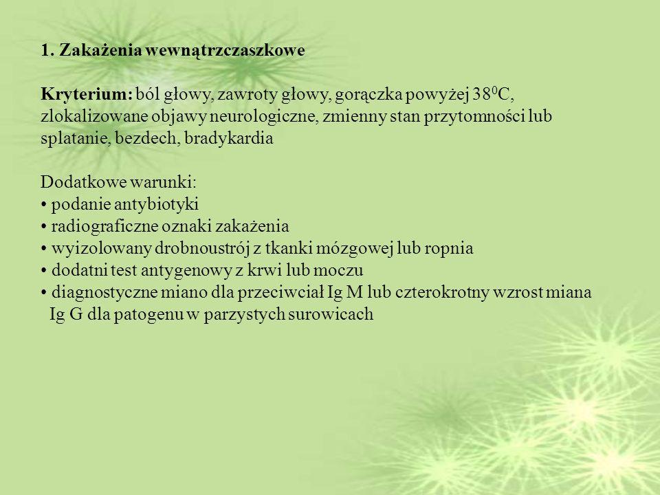 1. Zakażenia wewnątrzczaszkowe