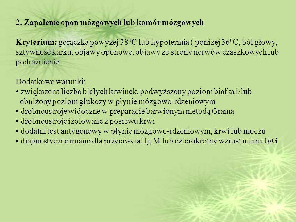2. Zapalenie opon mózgowych lub komór mózgowych