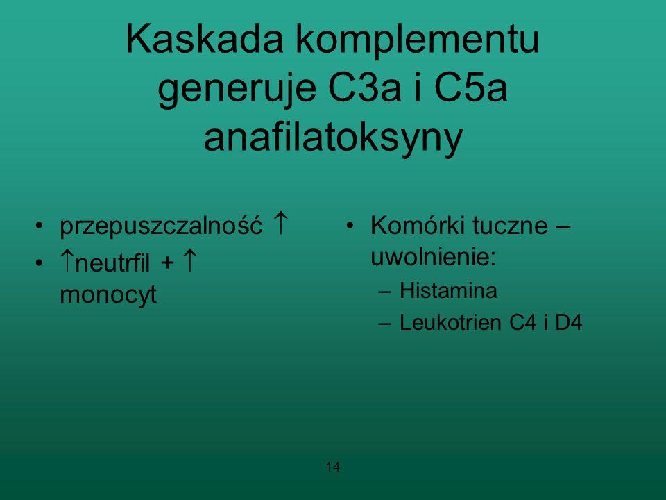 Kaskada komplementu generuje C3a i C5a anafilatoksyny