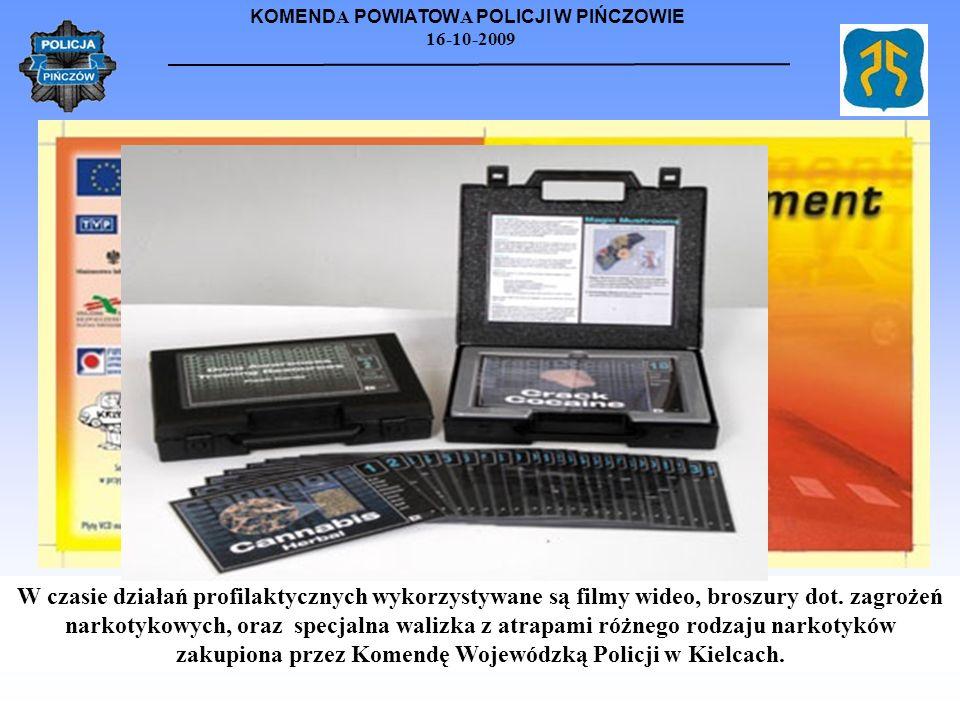 W czasie działań profilaktycznych wykorzystywane są filmy wideo, broszury dot.