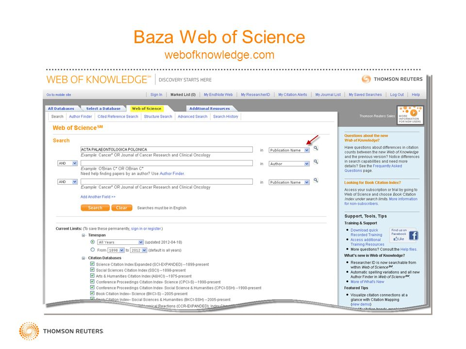 Baza Web of Science webofknowledge.com
