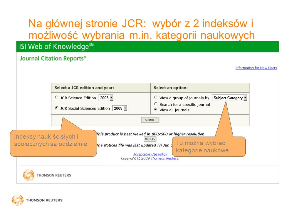Na głównej stronie JCR: wybór z 2 indeksów i możliwość wybrania m. in