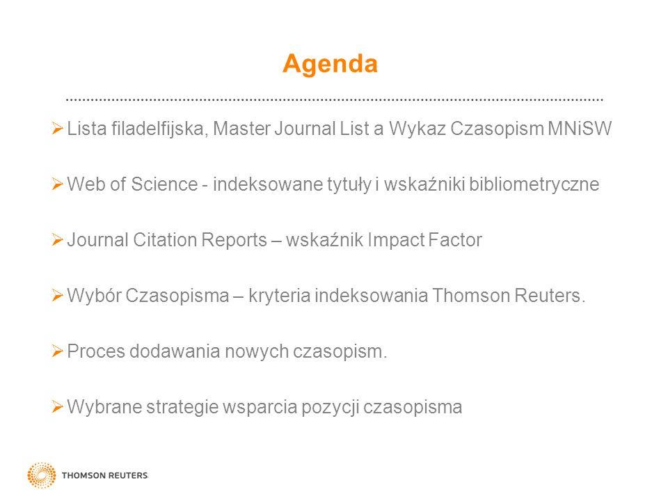 Agenda Lista filadelfijska, Master Journal List a Wykaz Czasopism MNiSW. Web of Science - indeksowane tytuły i wskaźniki bibliometryczne.
