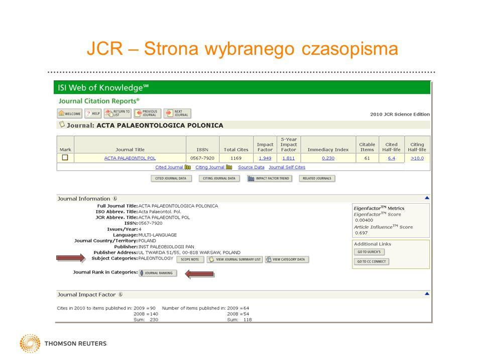 JCR – Strona wybranego czasopisma