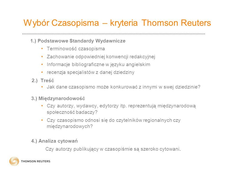 Wybór Czasopisma – kryteria Thomson Reuters