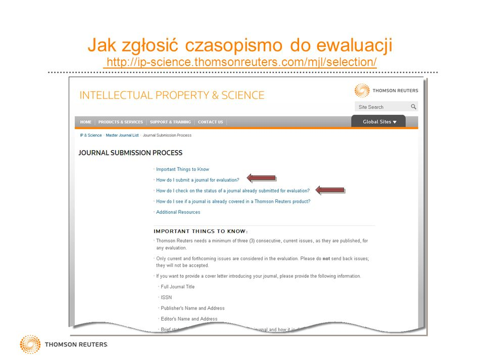 Jak zgłosić czasopismo do ewaluacji http://ip-science. thomsonreuters