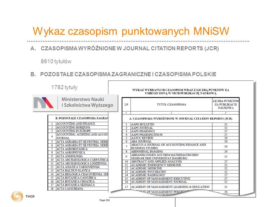 Wykaz czasopism punktowanych MNiSW