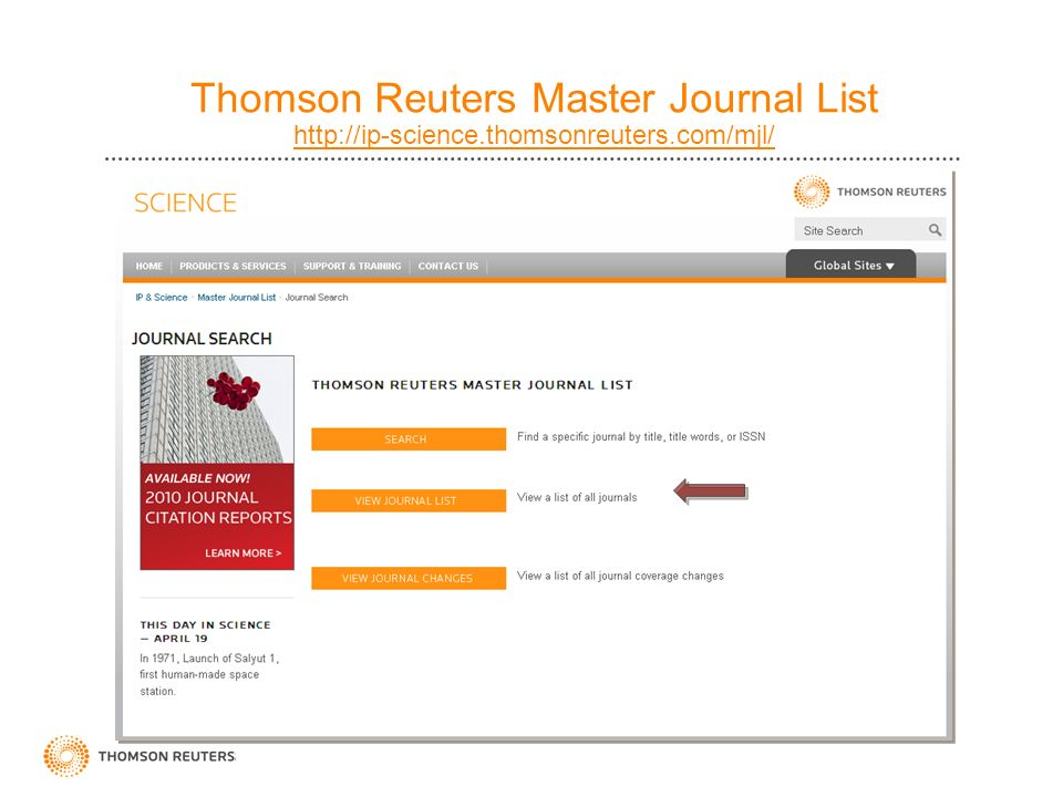 Thomson Reuters Master Journal List http://ip-science. thomsonreuters