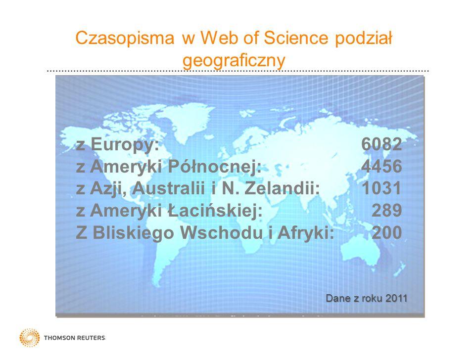 Czasopisma w Web of Science podział geograficzny
