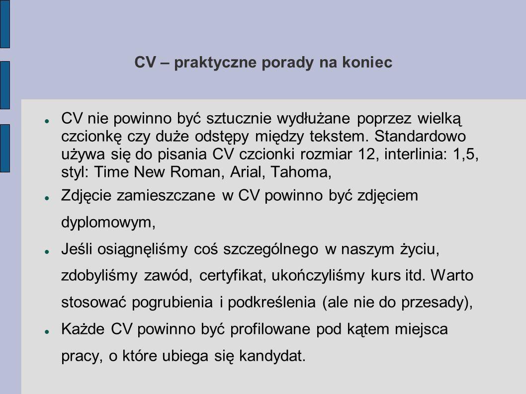 CV – praktyczne porady na koniec