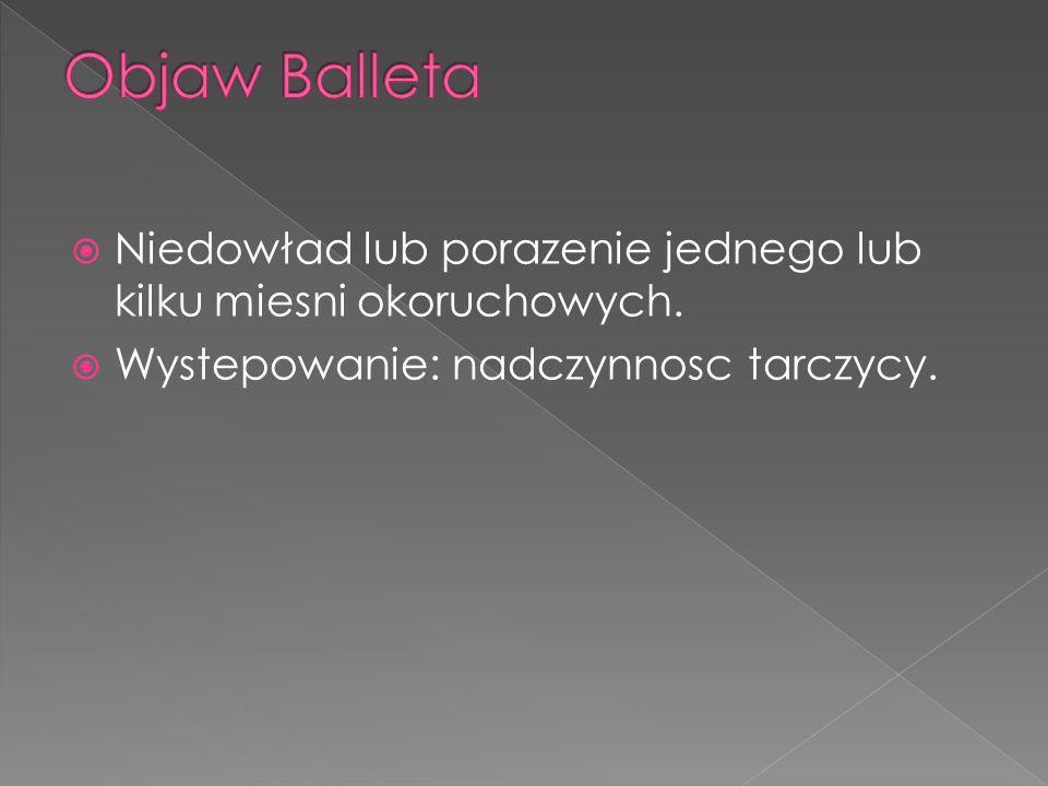 Objaw Balleta Niedowład lub porazenie jednego lub kilku miesni okoruchowych.