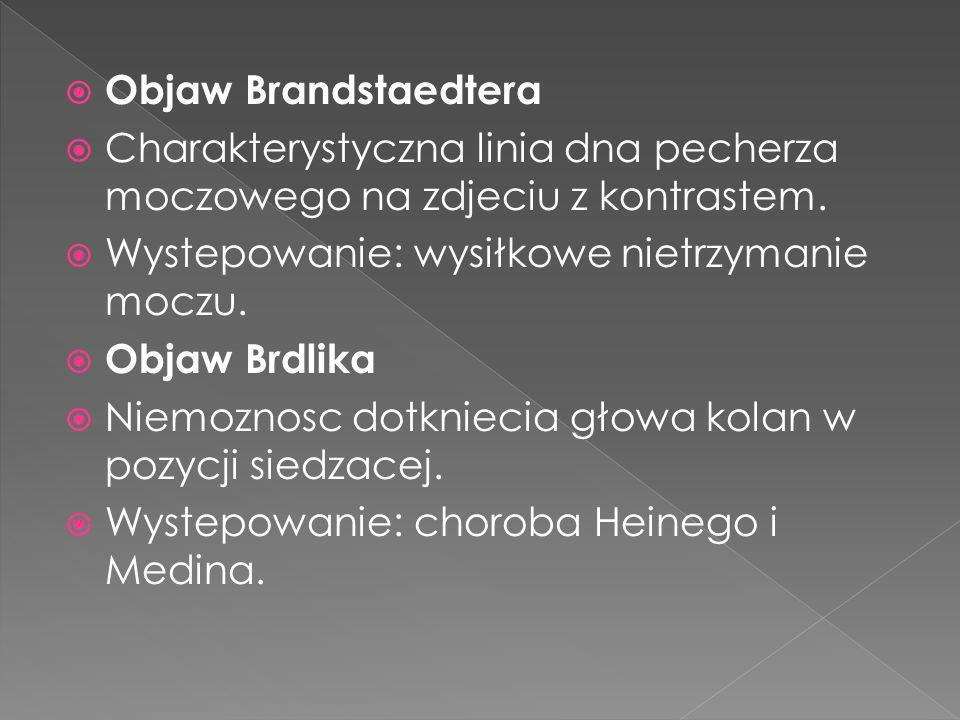 Objaw Brandstaedtera Charakterystyczna linia dna pecherza moczowego na zdjeciu z kontrastem. Wystepowanie: wysiłkowe nietrzymanie moczu.