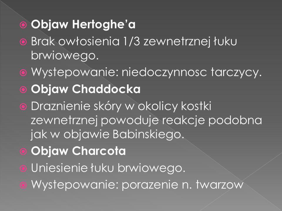 Objaw Hertoghe'a Brak owłosienia 1/3 zewnetrznej łuku brwiowego. Wystepowanie: niedoczynnosc tarczycy.