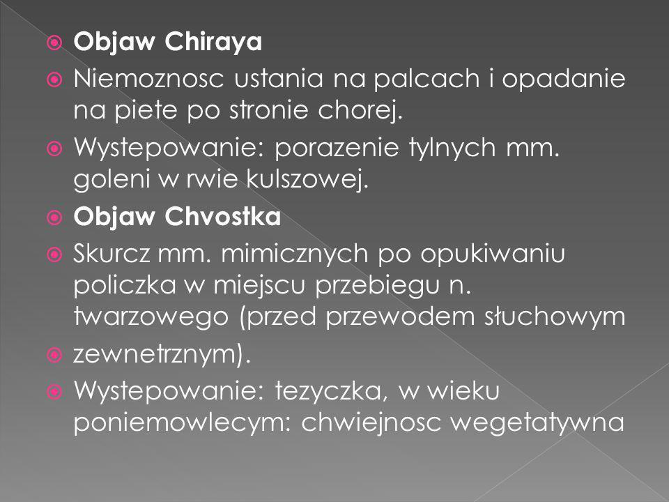 Objaw Chiraya Niemoznosc ustania na palcach i opadanie na piete po stronie chorej. Wystepowanie: porazenie tylnych mm. goleni w rwie kulszowej.