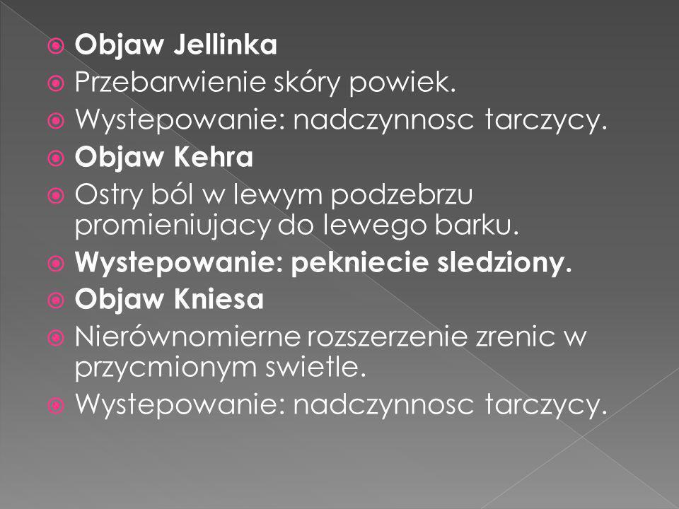 Objaw Jellinka Przebarwienie skóry powiek. Wystepowanie: nadczynnosc tarczycy. Objaw Kehra.