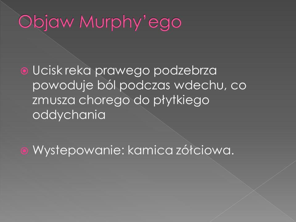 Objaw Murphy'ego Ucisk reka prawego podzebrza powoduje ból podczas wdechu, co zmusza chorego do płytkiego oddychania.