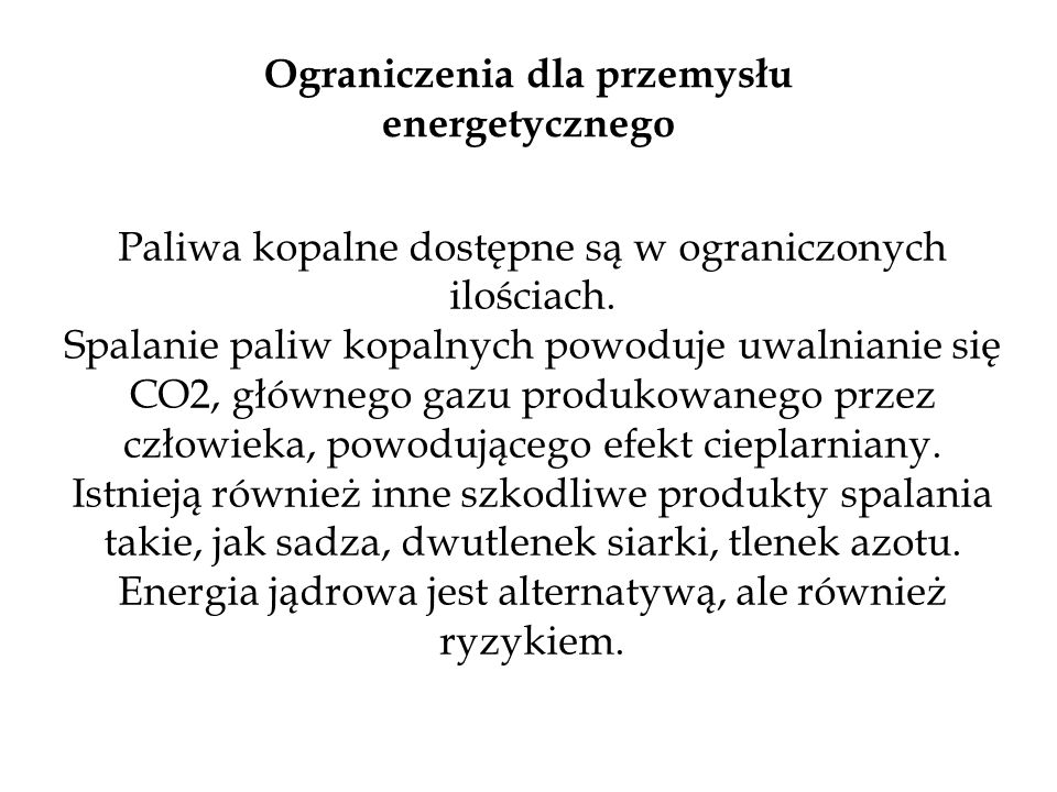 Ograniczenia dla przemysłu energetycznego