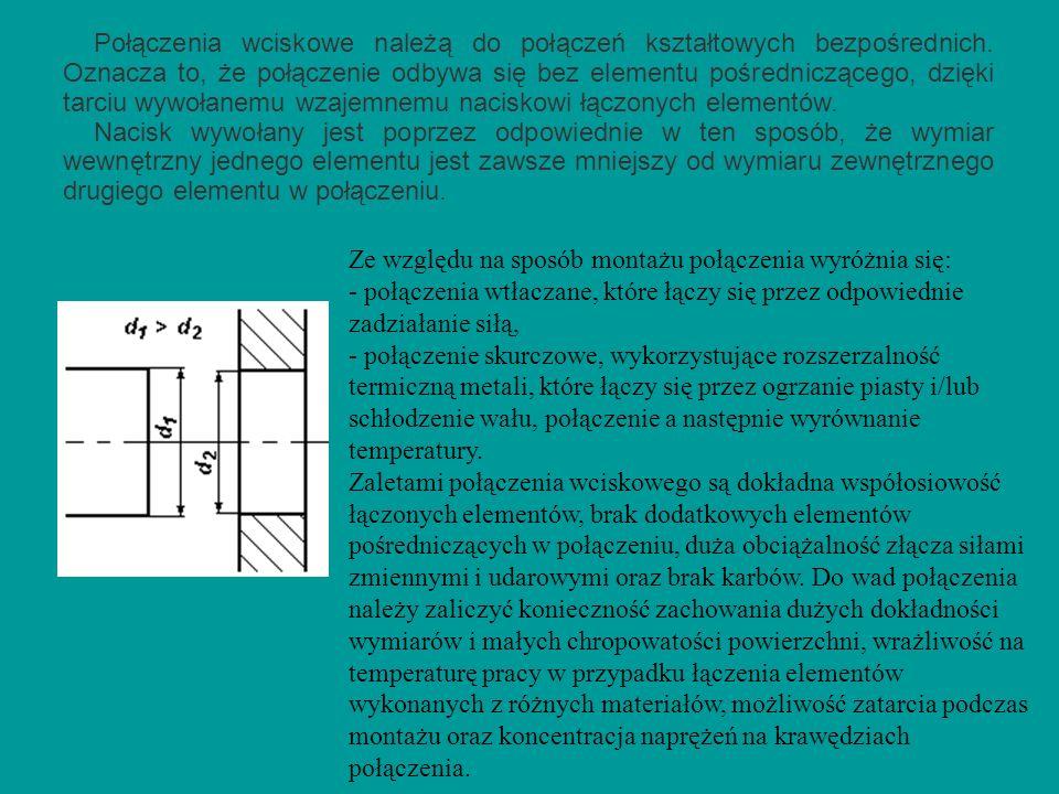 Połączenia wciskowe należą do połączeń kształtowych bezpośrednich