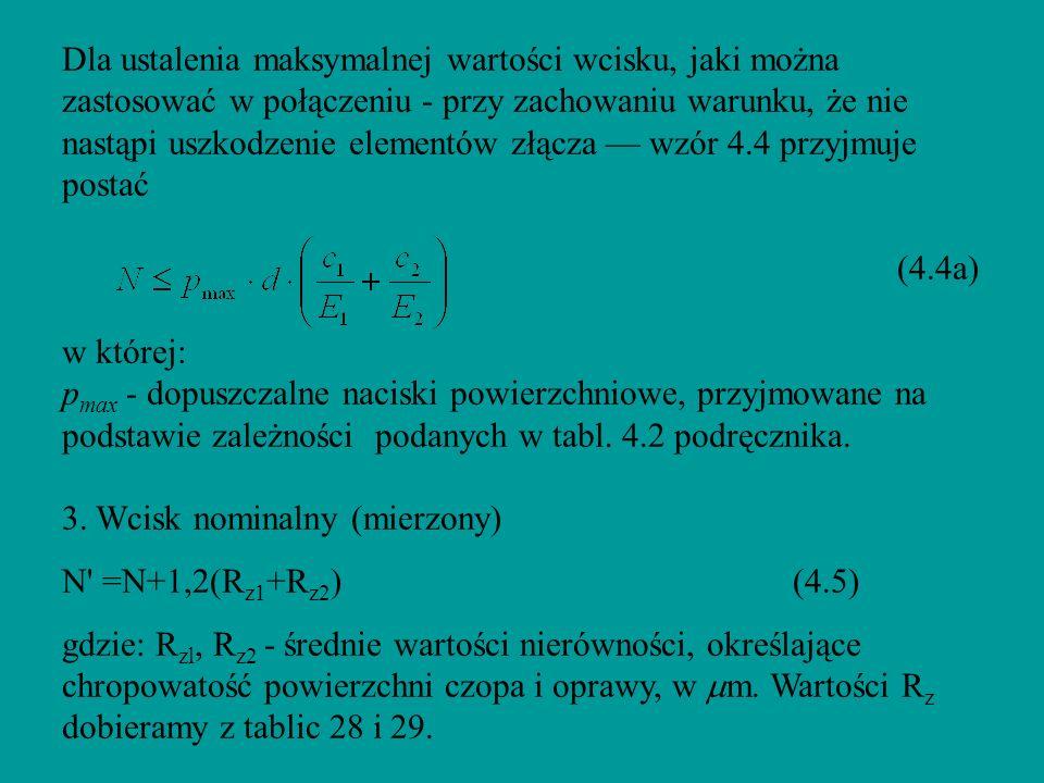 Dla ustalenia maksymalnej wartości wcisku, jaki można zastosować w połączeniu - przy zachowaniu warunku, że nie nastąpi uszkodzenie elementów złącza — wzór 4.4 przyjmuje postać (4.4a) w której: pmax - dopuszczalne naciski powierzchniowe, przyjmowane na podstawie zależności podanych w tabl.