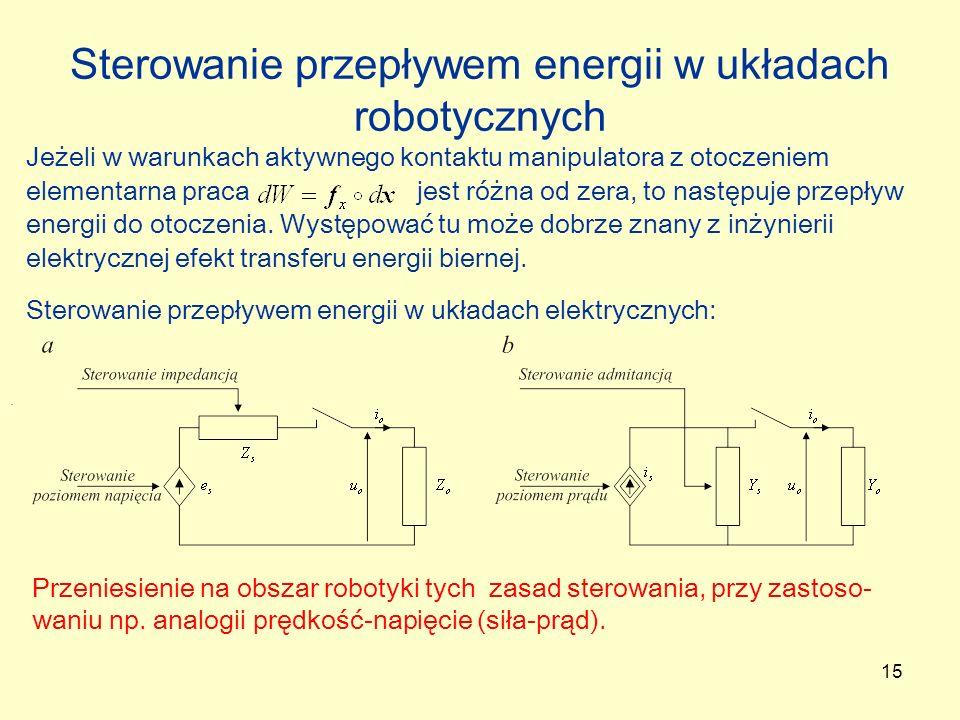 Sterowanie przepływem energii w układach robotycznych
