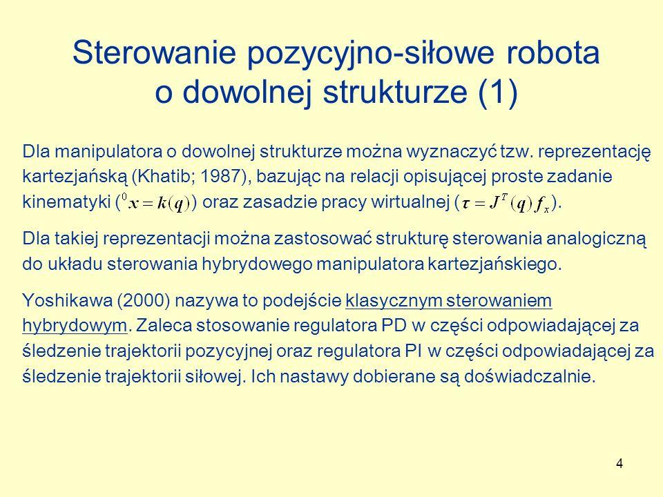 Sterowanie pozycyjno-siłowe robota o dowolnej strukturze (1)