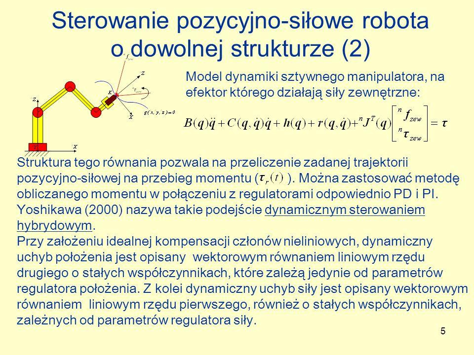 Sterowanie pozycyjno-siłowe robota o dowolnej strukturze (2)