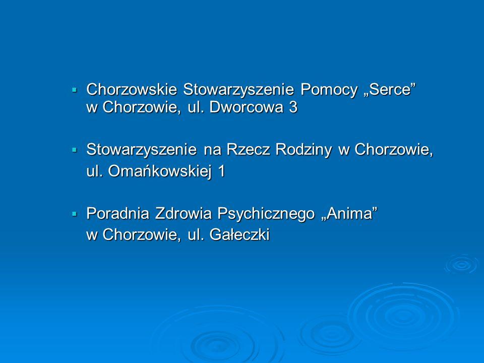 """Chorzowskie Stowarzyszenie Pomocy """"Serce w Chorzowie, ul. Dworcowa 3"""