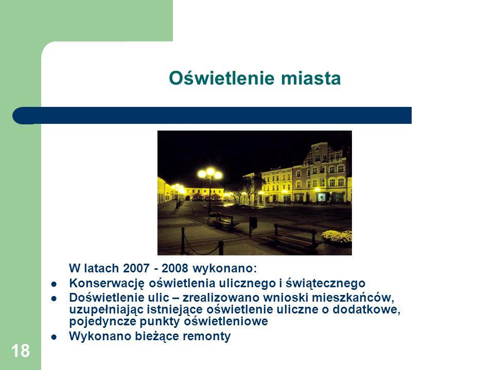 Oświetlenie miasta W latach 2007 - 2008 wykonano: