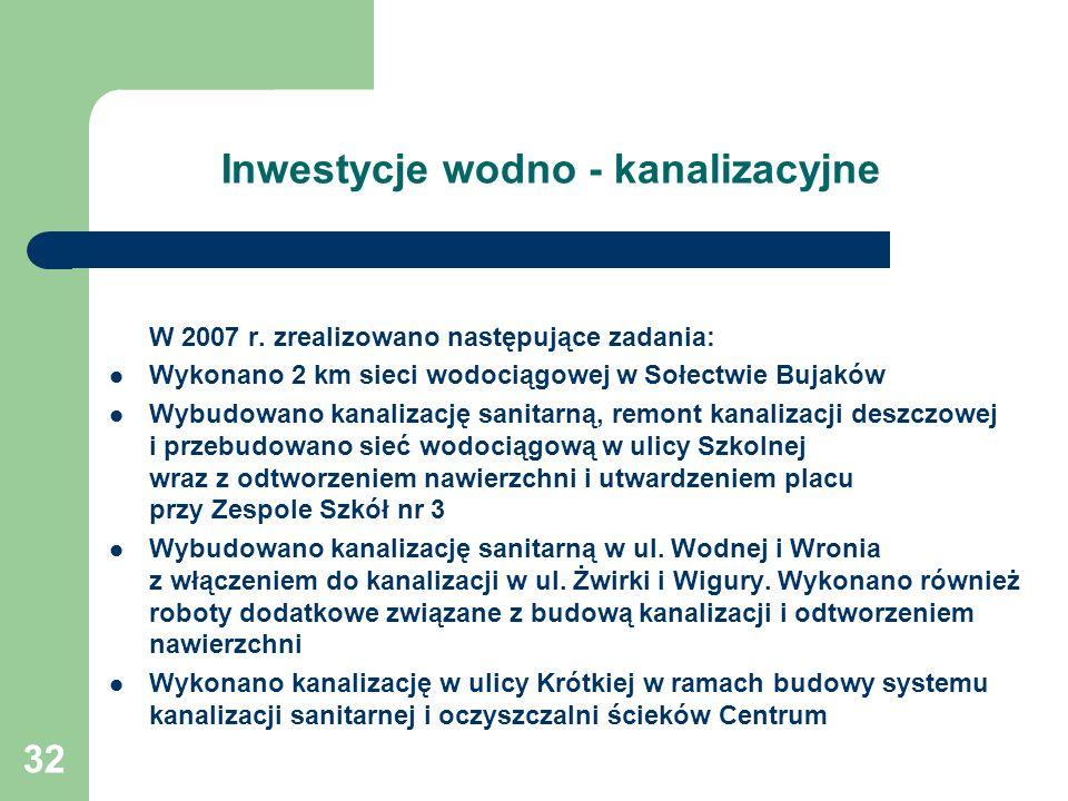Inwestycje wodno - kanalizacyjne