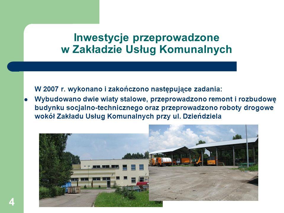 Inwestycje przeprowadzone w Zakładzie Usług Komunalnych