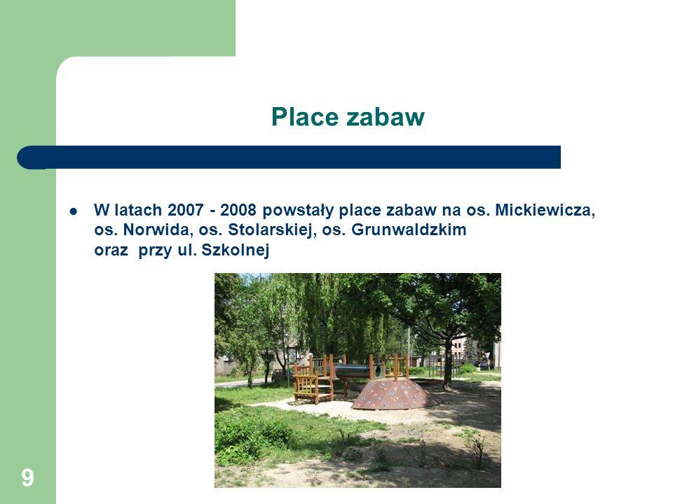 Place zabaw W latach 2007 - 2008 powstały place zabaw na os.