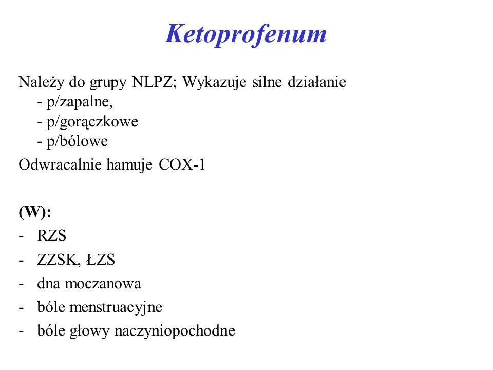 Ketoprofenum Należy do grupy NLPZ; Wykazuje silne działanie - p/zapalne, - p/gorączkowe - p/bólowe.