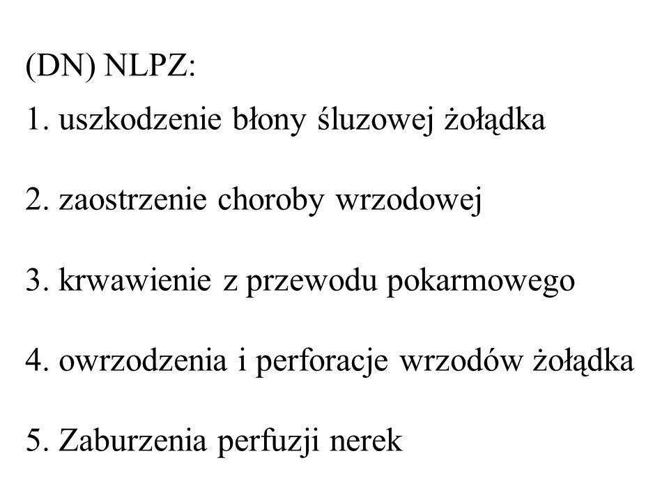 (DN) NLPZ: 1. uszkodzenie błony śluzowej żołądka 2