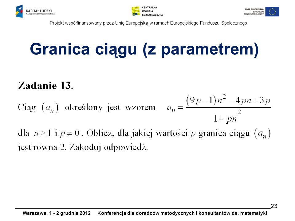 Granica ciągu (z parametrem)