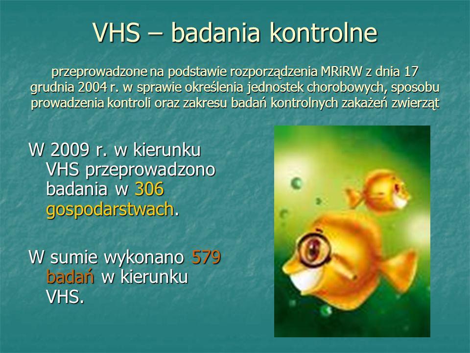VHS – badania kontrolne przeprowadzone na podstawie rozporządzenia MRiRW z dnia 17 grudnia 2004 r. w sprawie określenia jednostek chorobowych, sposobu prowadzenia kontroli oraz zakresu badań kontrolnych zakażeń zwierząt