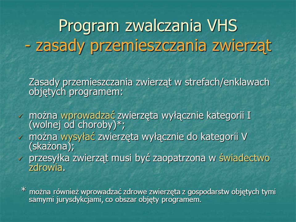 Program zwalczania VHS - zasady przemieszczania zwierząt