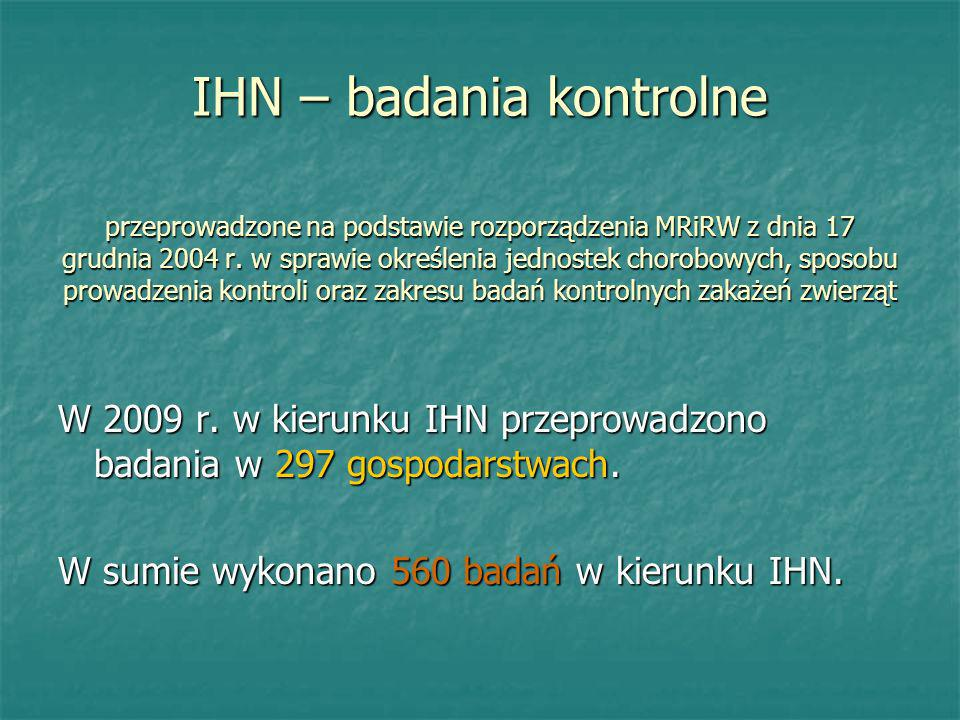 IHN – badania kontrolne przeprowadzone na podstawie rozporządzenia MRiRW z dnia 17 grudnia 2004 r. w sprawie określenia jednostek chorobowych, sposobu prowadzenia kontroli oraz zakresu badań kontrolnych zakażeń zwierząt