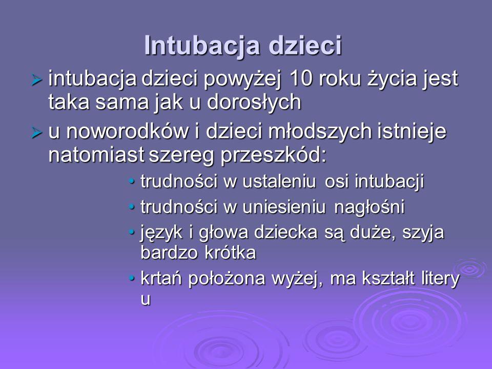 Intubacja dzieci intubacja dzieci powyżej 10 roku życia jest taka sama jak u dorosłych.