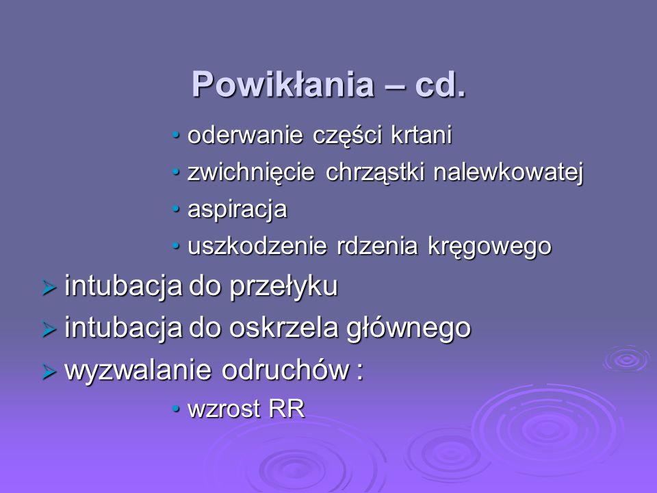 Powikłania – cd. intubacja do przełyku intubacja do oskrzela głównego