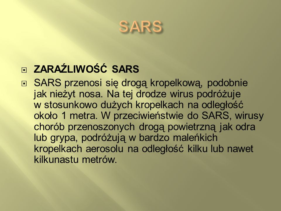 SARS ZARAŹLIWOŚĆ SARS.