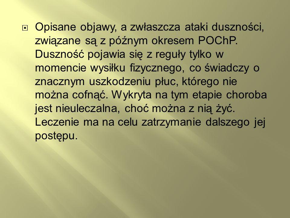 Opisane objawy, a zwłaszcza ataki duszności, związane są z późnym okresem POChP.