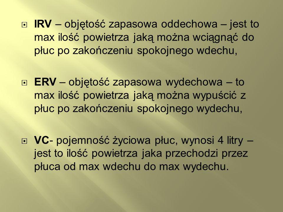 IRV – objętość zapasowa oddechowa – jest to max ilość powietrza jaką można wciągnąć do płuc po zakończeniu spokojnego wdechu,