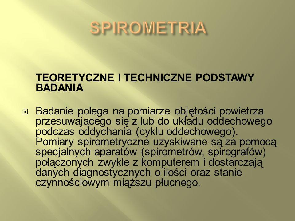 SPIROMETRIA TEORETYCZNE I TECHNICZNE PODSTAWY BADANIA
