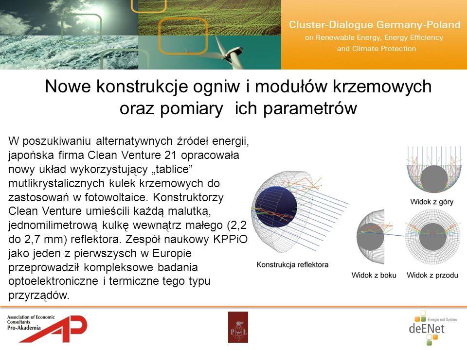 Nowe konstrukcje ogniw i modułów krzemowych oraz pomiary ich parametrów