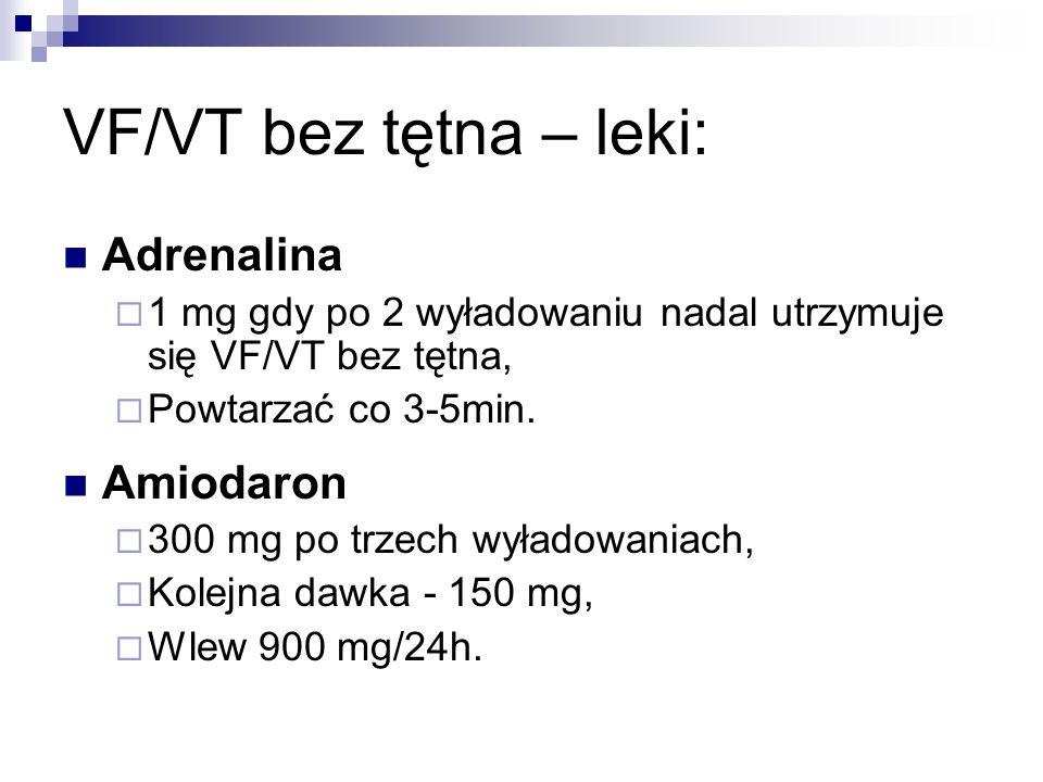 VF/VT bez tętna – leki: Adrenalina Amiodaron